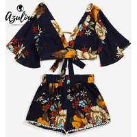 AZULINA Floral Plunging Neck Cropped Top High Waisted Lace Trim Shorts Women Clothes Casual Two Piece