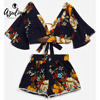 AZULINA Floral Plunging Neck Cropped Top And High Waisted Lace Trim Shorts Women Clothes Casual Two