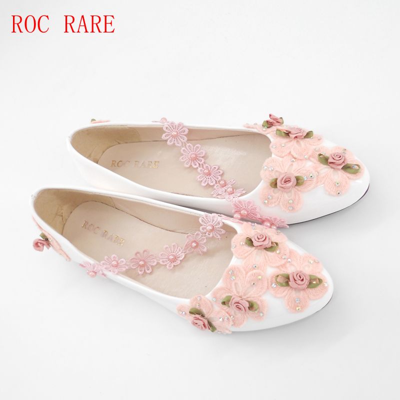 Pink Low Heel Wedding Shoes: ROC RARE Pink Lace Flowers Women Wedding Shoes Low Heels