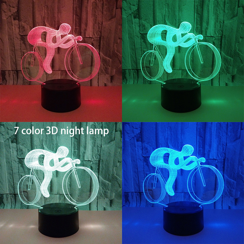 Ride Bike 3D Lamp LED Night Light RGB 7 Colors 3D Visual Hologram Decor USB Powered Table Lamp for Sports Guy Fans Gift cool skull middle finger 3d skull decor 3d usb led lamp pop rock music boy room decor 7 colors change night light visual illusio