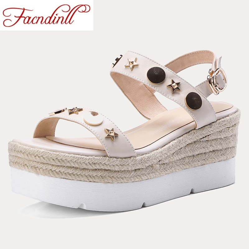 FACNDINLL fashion genuine leather women summer sandals shoes sexy wedges high heel open toe shoes woman dress party casual shoes facndinll genuine leather sandals for