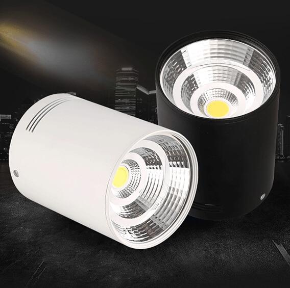 Livraison gratuite Surface montée COB LED Downlight 15 W plafonnier, couleur du corps blanc/noir, chaud/blanc/froid blanc vers le bas lumière