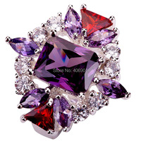 Wholesale New Fashion Jewelry Unisex Emerald Cut Amethyst Garnet White Topaz 925 Silver Ring Size 6 7 8 9 Free Shipping