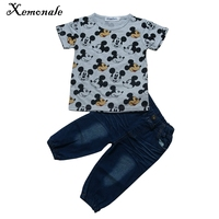 Xemonale Boys Sport Suits Summer Long Sleeve Cartoon Mickey T shirt+Jeans 2Pcs Childrens Clothing Sets Toddler Boy Clothes Sets