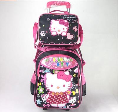 eceea3257e8 Black Pink Hello Kitty Bags for Girls Travelling Trolley School Bag Set  Trolley Luggage Kit for Children Cute Bookbags on Wheels