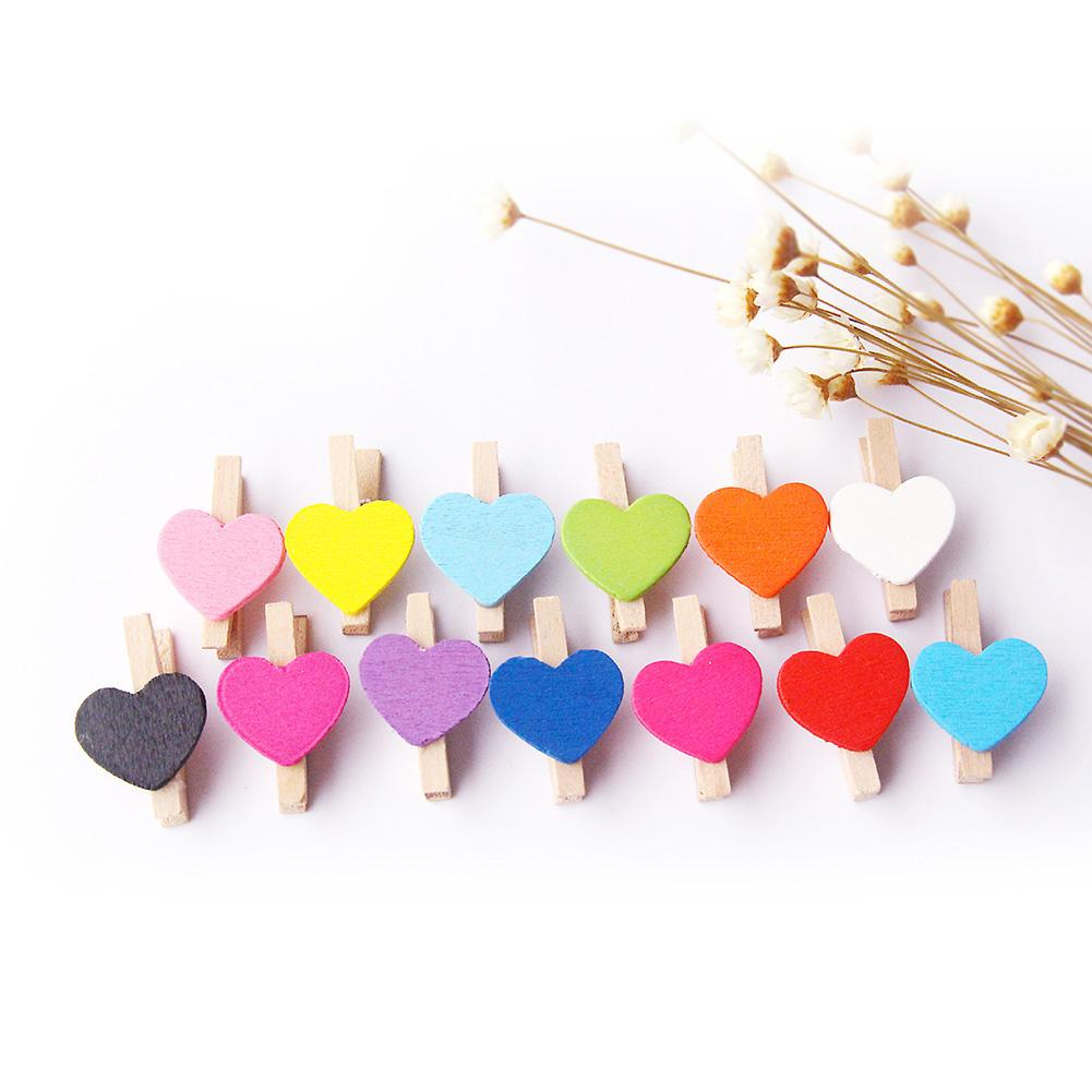 Photo Clip 50Pcs Mixed Color Heart Wooden Mini Pegs Photo Clips DIY Wedding Party Supply