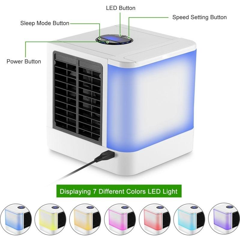 USB Mini Portable Air Conditioner Humidifier Purifier Desktop LCD Air Cooling Fan Air Cooler Fan For Office Home 7 Colors Light