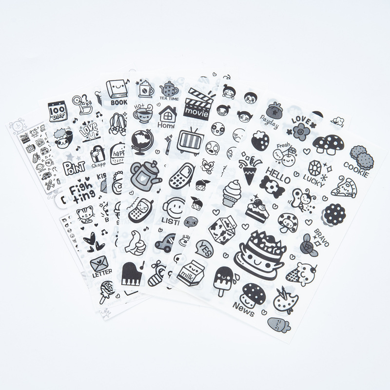 6pcs Cute Little Icon Transparent Sticker Organizer Calendar Diary Book Planner Scrapbook Decoration Diary Sticker Papeleria