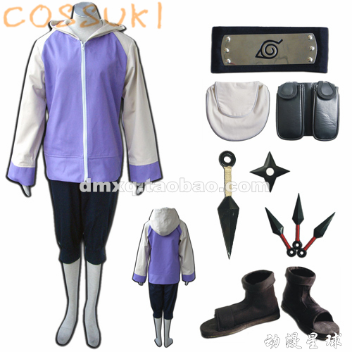 Free Shipping! Stock! Naruto Hyuga Hinata Full Set Cosplay Costume Suits ,Perfect Custom For You!