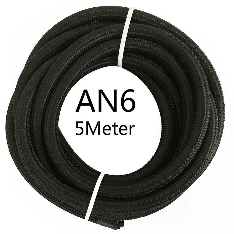 ESPEEDER 5 м AN4 AN6 AN8 AN10 AN12 гоночный шланг Труба Универсальный нейлон-нержавеющая сталь топливная линия Черный Масляный охладитель шланг трубки - Цвет: AN6