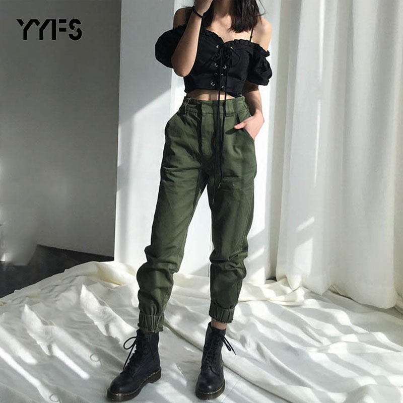 High waist   pants   loose joggers womens army harem   pants   streetwear punk black cargo   pants   women   capris   trousers pantalon mujer
