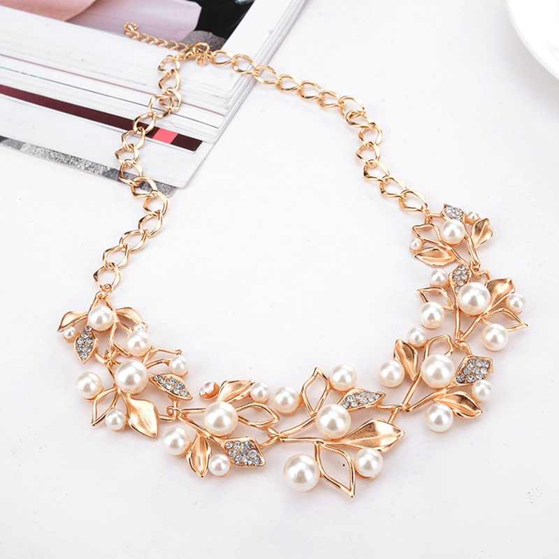 Pearl Necklace Earrings Jewelry Sets For Women Gold Silver Alloy Luxury Wedding Jewelry Hollow Out Leaf Necklace Bride Earrings