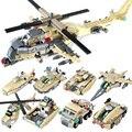 679 unids/set Ciudad Bloques de Construcción modelo de Helicóptero Militar Del Ejército Equipo Militar Establece Ladrillos Juguetes Compatible Legoe Gudi 8007