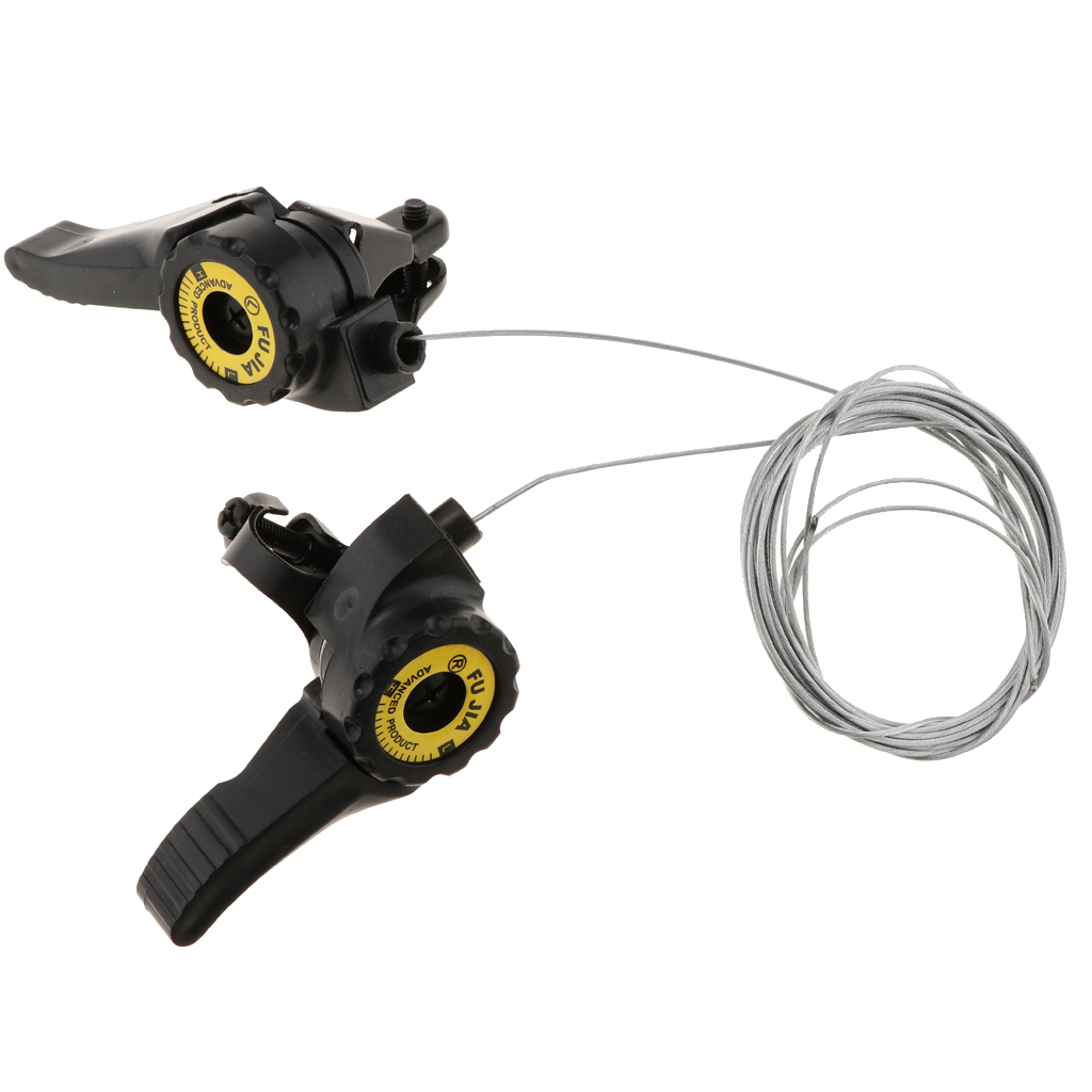 Mountain Bike Thumb Gear Shifter Speed Shift Lever Front Rear Cable Cycling Set