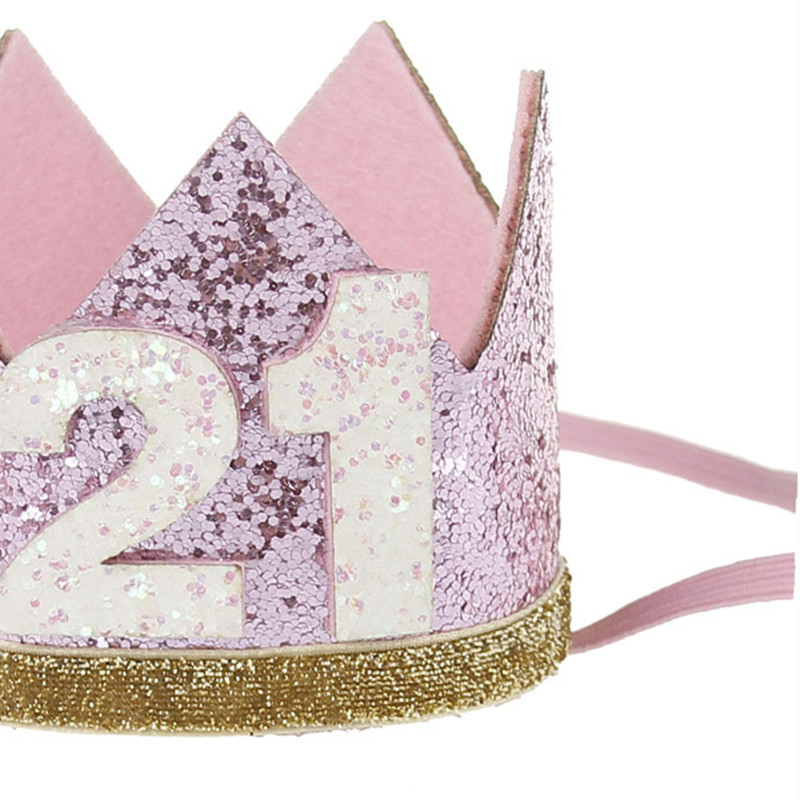 Cute Shiny 20 21 30 Adult Birthday Party Hats Girls Kawaii Princess Crown Caps Women Cake Photo Props Decor In From Home
