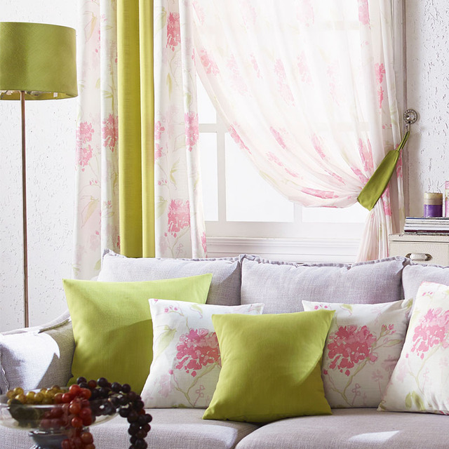 Flower Window Curtains Custom Made Bedroom Curtain Fabrics Pink Drapes  Living Room Green Window Treatment Panels