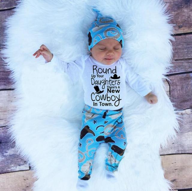 Funny Baby Boy Cowboy Clothes Outfit Little Man Long