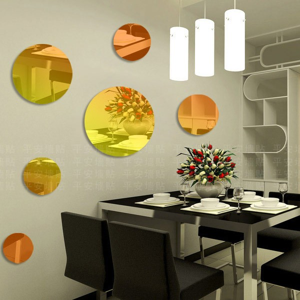 9pcs round mirror three dimensional acrylic mirror wall sticker combination porch mosaic decoration for living room porch in wall stickers from home