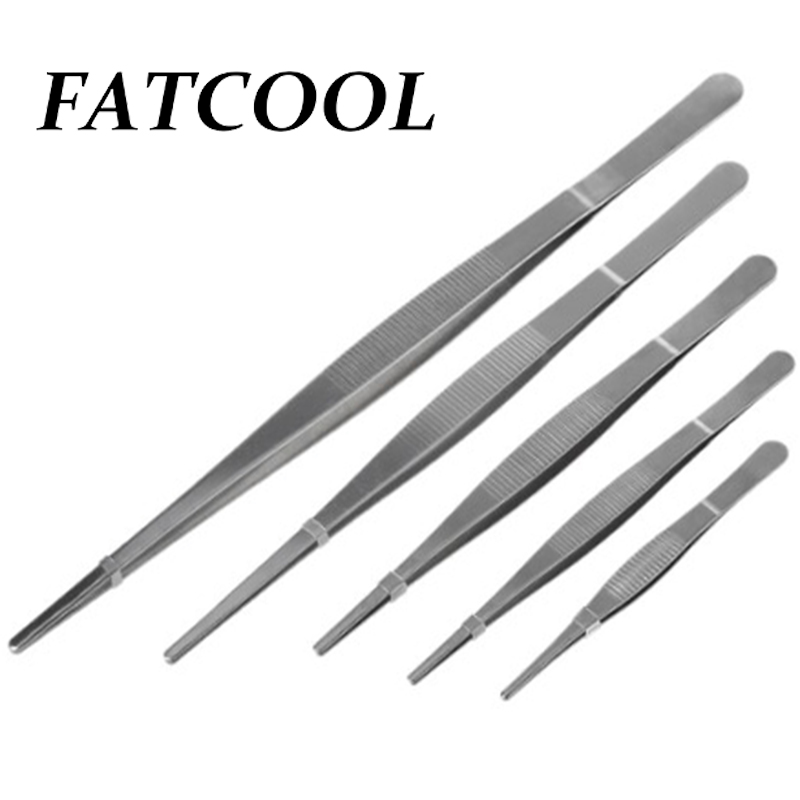FATCOOL Tweezers Barbecue Stainless Steel Long Food Tongs Straight Home Medical Tweezer Garden Kitchen BBQ Tool 5 Sizes