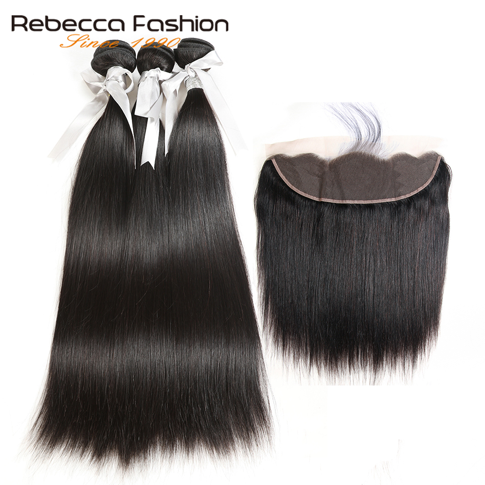 Rebecca malasia pelo liso 3 paquetes con frontales no Remy pelo - Equipos para peluquerías - foto 2