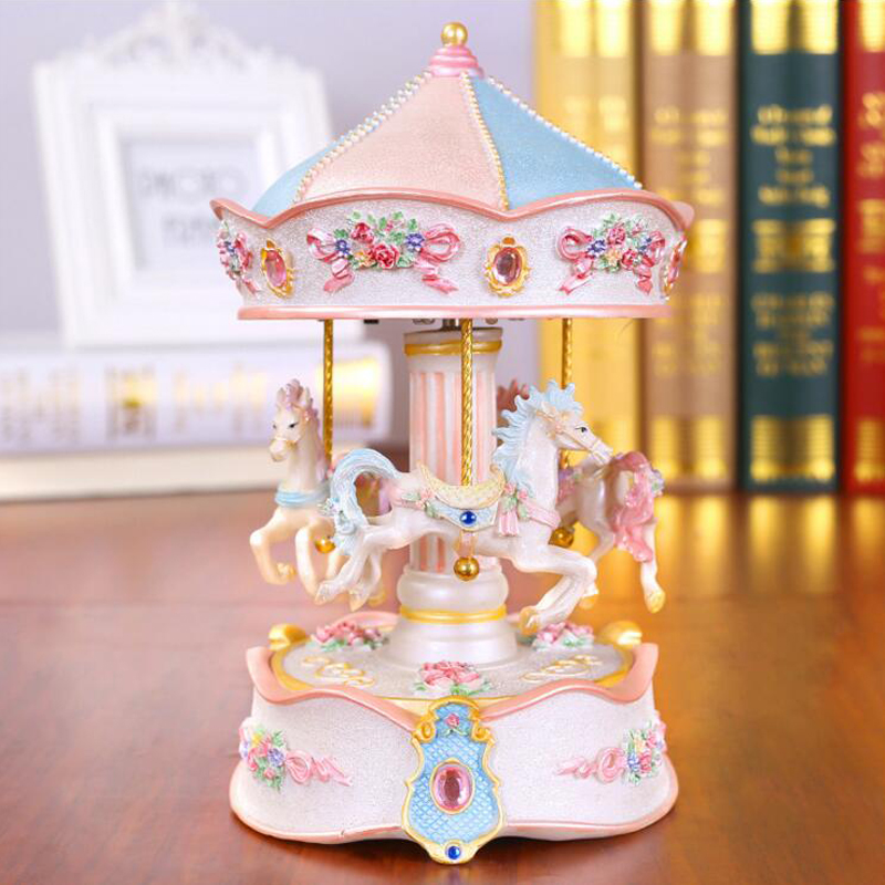 Us 32 32 35 Off New Resin Carousel Music Box Decor Led Flash Lights Creative Birthday Valentine S Day Gifts For Girl Friend Kids Christmas Gifts In