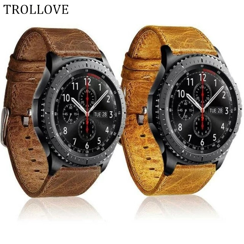 TROLLOVE Retro Leather Strap For Samsung Gear S3 Band Frontier Strap For Gear S3 Watchband 22mm Watch Bracelet genuine leather black brown strap for samsung gear s3 band frontier strap for gear s3 classic watchband 22mm watch bracelet