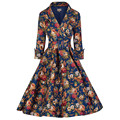 Tonval 2016 Women 2/3 Sleeve Vintage Dress Floral Print Elegant Belted Retro 50s Rockabilly Evening Party Sexy Swing Dresses