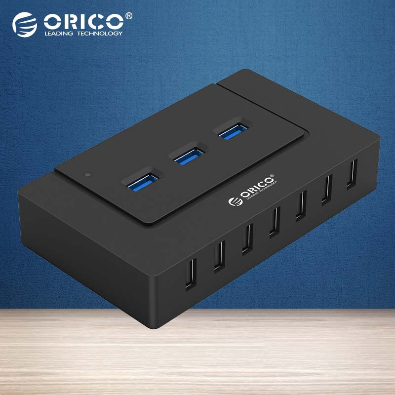 ORICO 10 Ports USB HUB with Power Adapter High Speed USB 2.0/3.0 Splitter Adapter for PC LaptopNotebook-Black(H9910-U3) mini usb hub 3 0 super speed 5gbps 4 7 ports portable micro usb 3 0 hub splitter with external power adapter for pc accessories