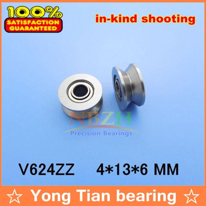 15pcs V624ZZ V groove roller wheel ball bearings 4*13*6 mm embroidery machine pulley bearing V624 624V (Carbon steel) tv0630 tv0630vv v groove pulley ball bearings 6 30 8 mm track guide roller bearing