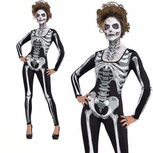 2018 New halloween Costume Horror skeleton jumpsuit Ghost clothing performance clothing party witch Devil woman tight bodysuit