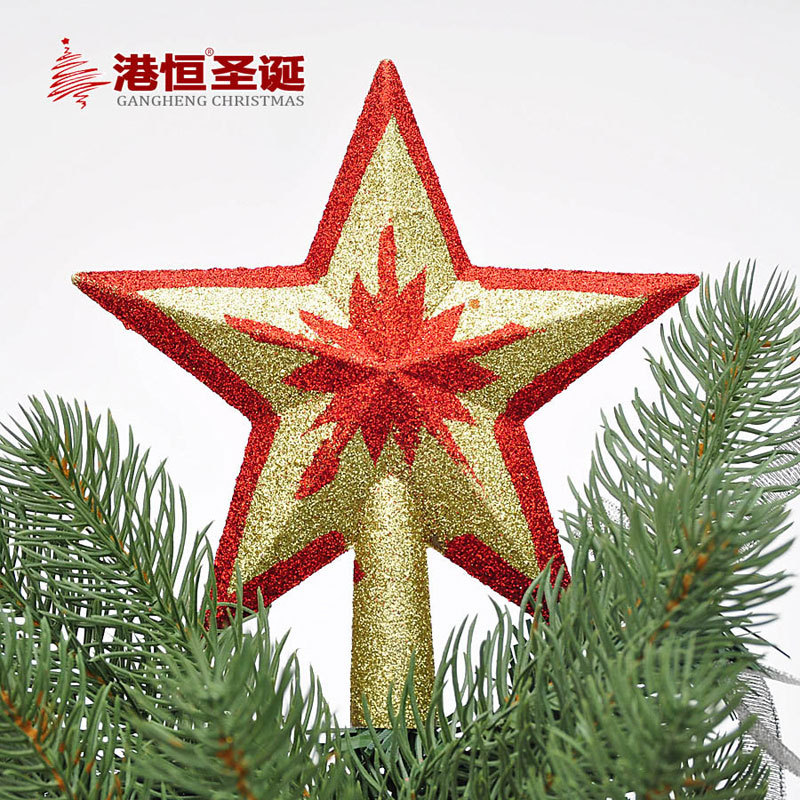 new 15 20cm red gold top star christmas tree top decoration ornaments xmas tree decorations craft supplies cristmas ornaments in christmas from home - Red And Gold Christmas Tree Decorations