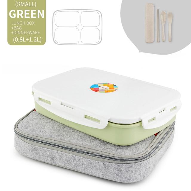 Green 5 Compart Set Cheap bento boxes japanese bento 5c6479e2ed37e
