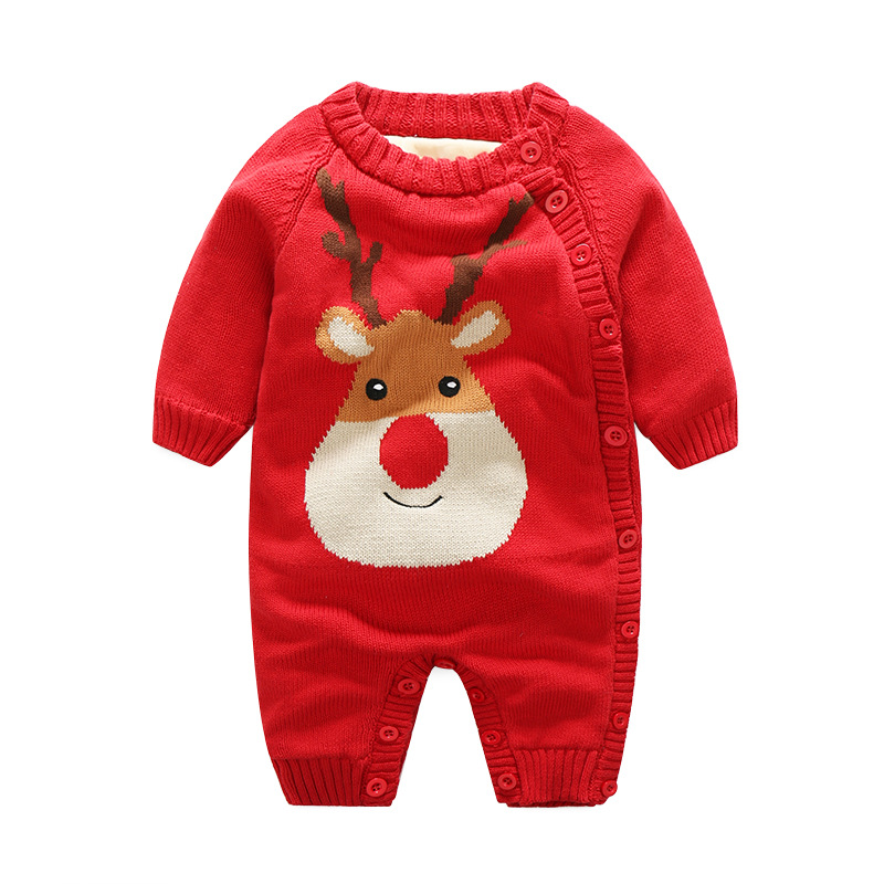 Thick Velvet Knitted Kids Romper Christmas Deer Santa Claus Baby Boys Jumpsuit Warm Fall Romper Cartoon Owl Rabbite Girls Romper 2016 winter new soft bottom solid color baby shoes for little boys and girls plus velvet warm baby toddler shoes free shipping