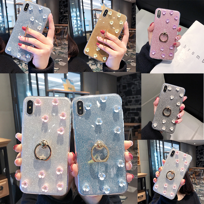 Galleria fotografica Gliiter Flower Cases For iPhone 7 Case 8 Plus X XS Max XR 6 6S 5 5S SE 4 4S Protective Bling Finger Ring Covers