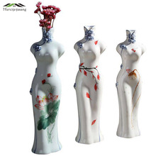 Flower Ceramic Lady Vase and-painted Flower Holder for Home Decoration