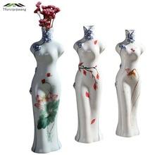 Flowers Vases Table Centerpiece Plant Vase Ceramic Art Tabletop Hand-painted Cheongsam Flower Holder for Home Decoration G083