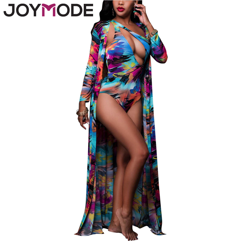 JOYMODE 2017 Sexy One Piece+Beach Cover Up Summer Swimsuit Floral Paint Bathing Suits Sw ...