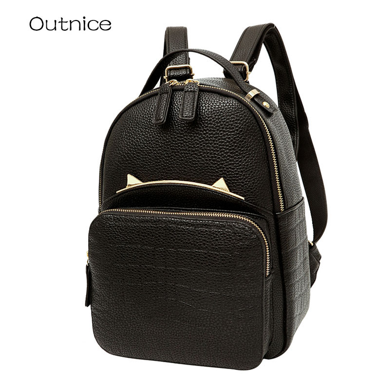 OUTNICE Small Lovely Cat Backpack Black PU Leather Shool Backpacks for Teenager Girls Sac a Dos