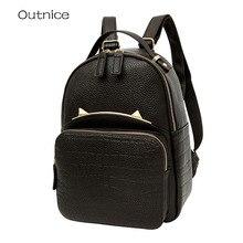 OUTNICE котенок рюкзак женский Бренд Рюкзаки из кожзаменителя черный рюкзак школьный высокое качество