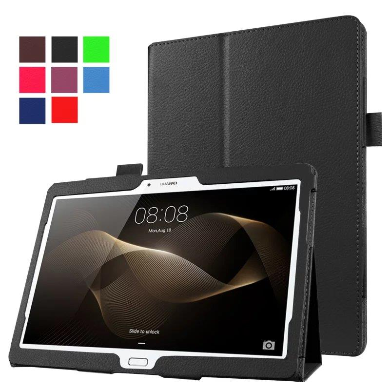 Tablet Protective Smart Litchi Pattern PU Leather Case For Huawei MediaPad T5 10.1 Tempered Glass Protective Film