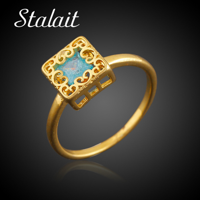 Сердце шаблон свадебные кольца для Для женщин площадь Золото Цвет с Цвет Кристалл Обещание Кольца