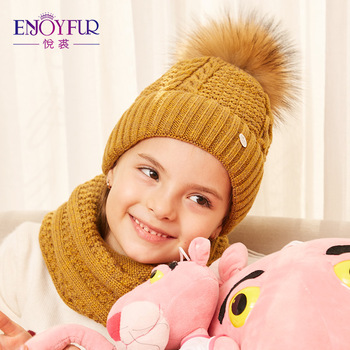 ENJOYFUR Girls Hat And Scarf Set For Winter High Quality Cotton Knitted Soft Hat Girl Thick Boy Caps Children Warm Hat Set