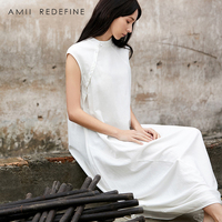Amii Redefine Dress Summer Women 2018 Chinese Style Solid Asymmetrical Lace Up Button Turtleneck Elagant Long Dresses