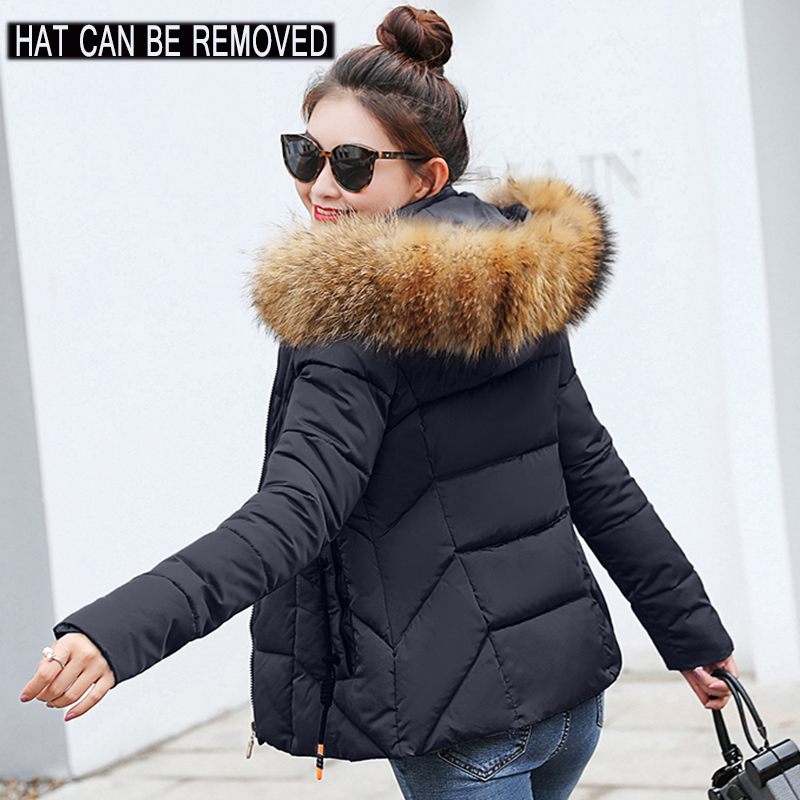Winter Jacket Outerwear Short Hooded-Coats Basic-Tops Female Plus-Size Womens Parkas title=