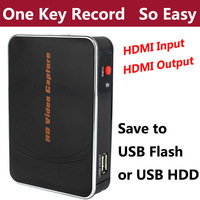 HDMI HD 1080P Game Video Capture Card Recorder Box for Xbox PS3 PS4 Video camera TV Set top Boxes to USB Flash Disk ,NO PC Need