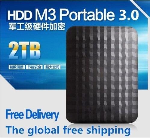 """Горячая! жесткий диск М3 1.tb/ 2 ТБ 2.5 """"3.0 Портативный USB Жесткий Диск HDD Черный Внешний Жесткий Диск, 3 Год гигантские освобожденный доставка"""