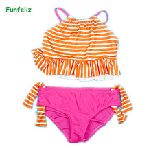 Funfeliz Children Swimwear Striped Two Pieces Swimsuit for Girls Double Lined 4T-12T Kids Bather Girl swimming suit Bikini Set