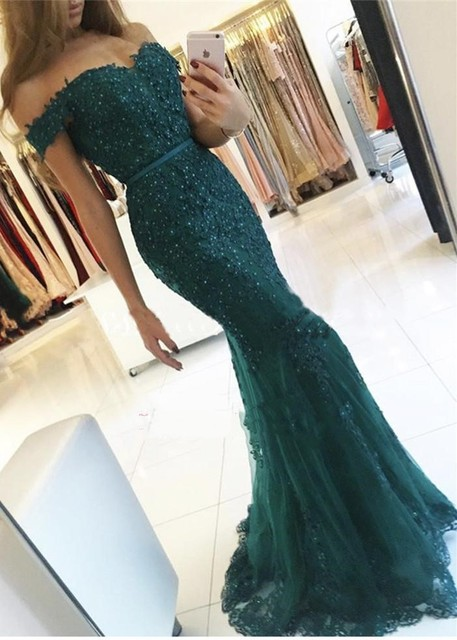 0d199b0424 Green Mermaid Long 2019 Prom Dresses Off the Shoulder Beaded Lace Appliques  Teens Formal Prom Party Gowns Robes Custom Made