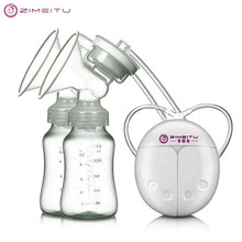 ZIMEITU Double Electric breast pumps Powerful Nipple Suction USB Electric Breast Pump with baby milk bottle Cold Heat Pad Nippl(China)