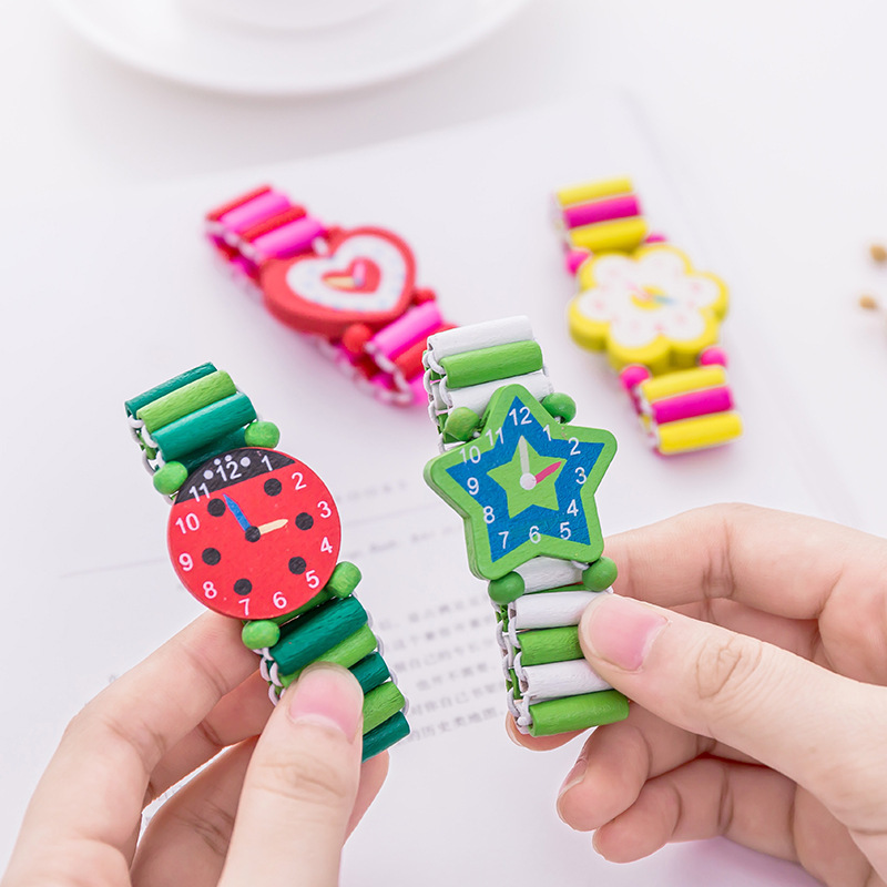 1PC Kids Bracelet Wooden Elastic Band Watch Cute Toys Baby Shower Girl Boy Souvenir Christmas Gifts Time Learning Education Toys
